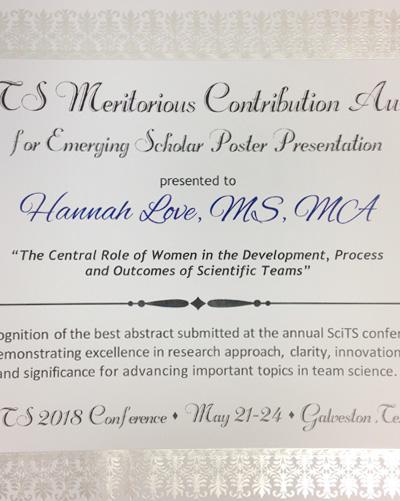 Hannah's certificate