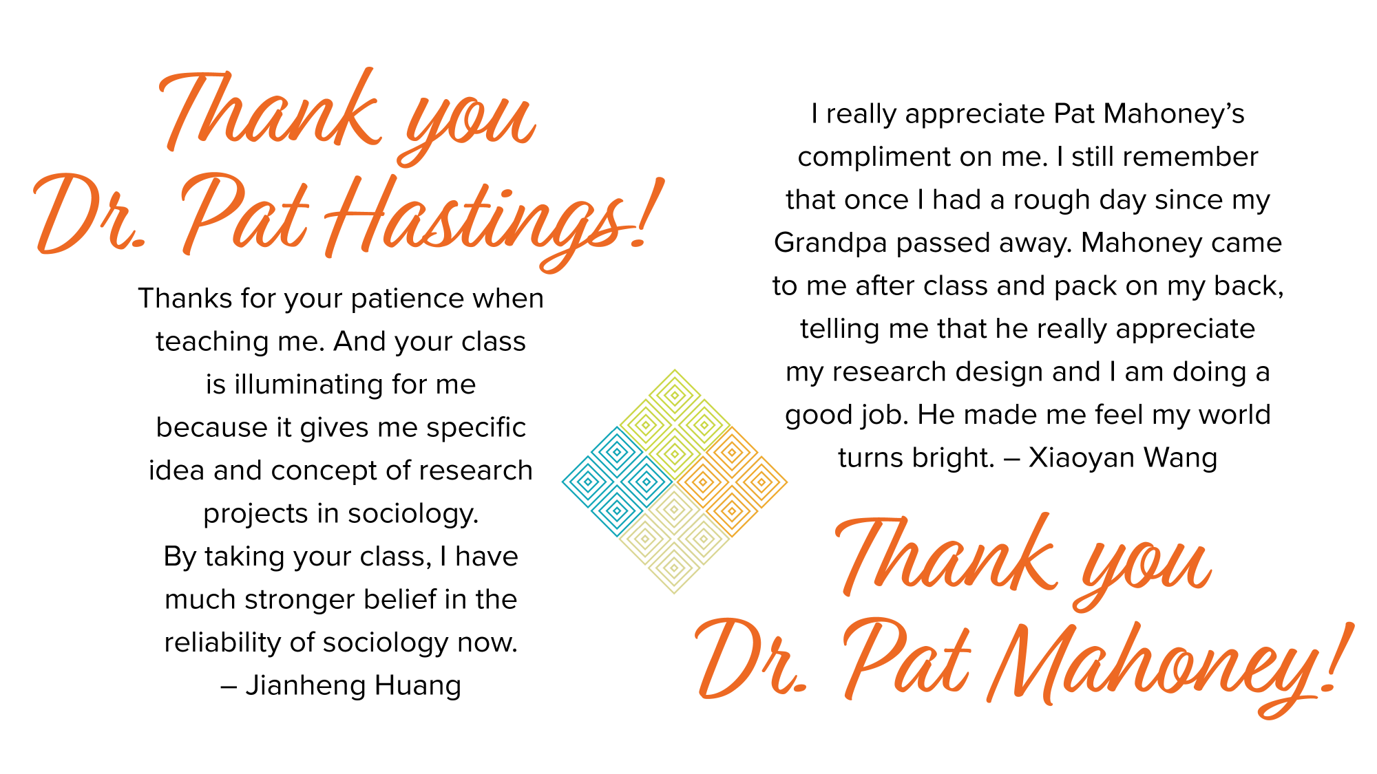 Thank you Dr. Hastings and Dr. Mahoney