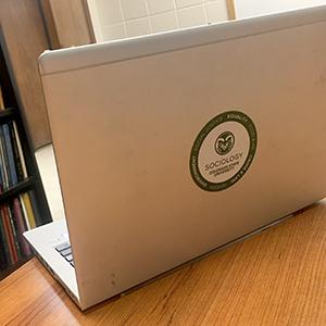 laptop with SOC sticker