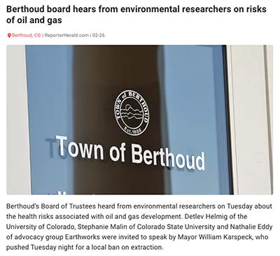 Berthoud news screenshot