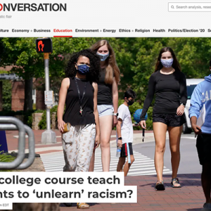 article screenshot showing college students walking