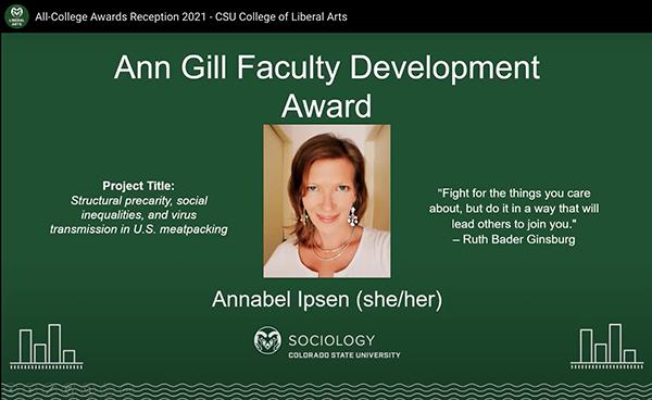 Annbel Ipsen award slide