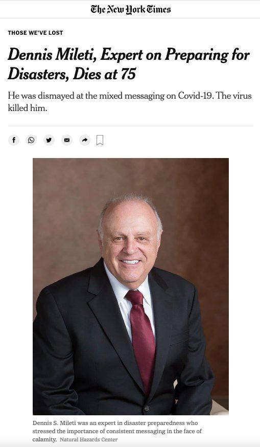 screenshot of NYT obituary