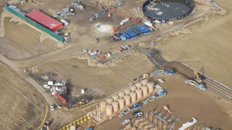Aerial view of oil and gas fieldwork in Weld County, Colorado.
